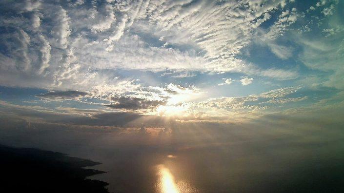 drone coucher de soleil